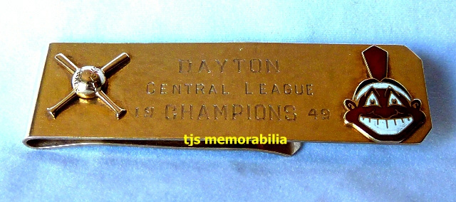 1949 CLEVELAND INDIANS DAYTON INDIANS CENTRAL LEAGUE CHAMPIONSHIP MONEY CLIP